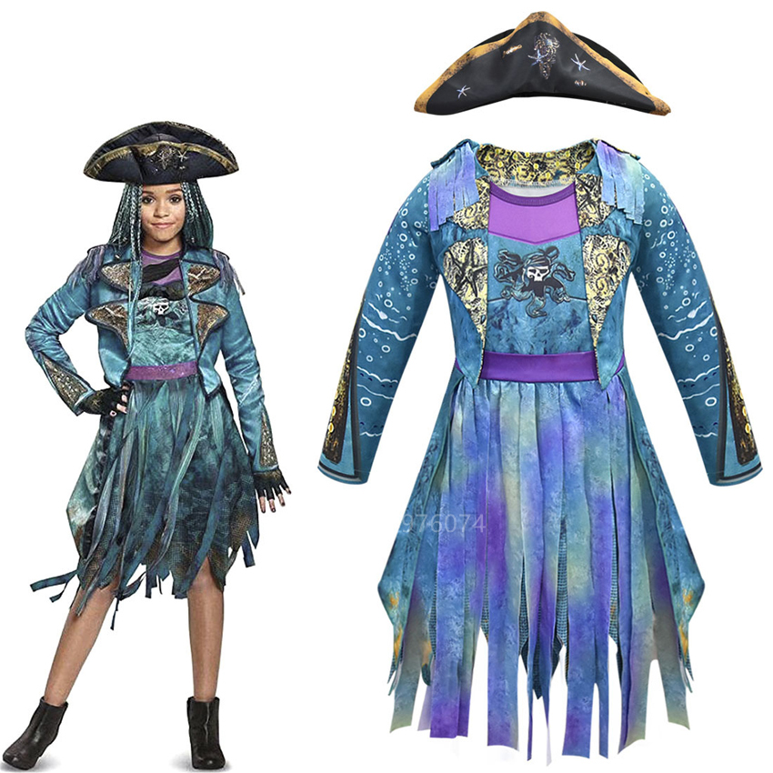 Halloween Descendants 3 Cosplay Costume For Baby Girls Carnival Party Evie Bertha Fancy Pirate Purple Printed Dress Hat Outfits
