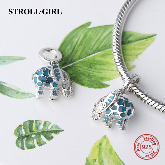 100% 925 sterling silver silver growing elephant animal pendant charms Fit European Bracelet beads DIY Jewelry for gift 2