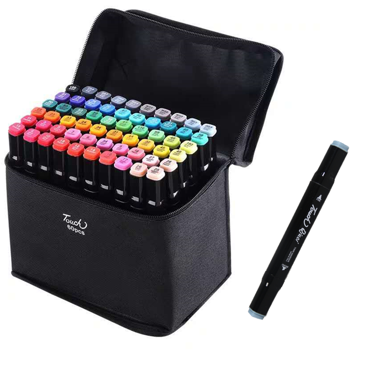 Marcadores ymz 24 36 48 60 80 pçs cores pontas duplas álcool gráfico esboçar marcadores caneta para bookmark manga desenho arte suprimentos