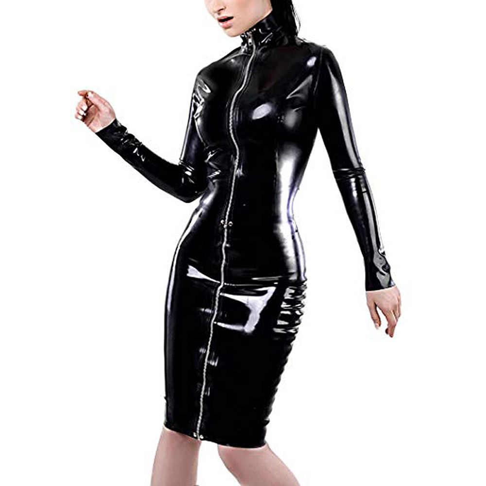 Deri kalem elbise seksi siyah PVC deri gotik Midi elbise Lace Up esaret lateks Clubwear uzun fermuar Wetlook vinil elbiseler