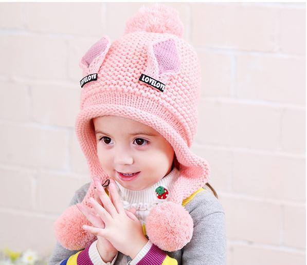 Doitbest/бархатные шапки для мальчиков от 2 до 6 лет, шерстяные шапки с кошачьими ушками однотонная зимняя вязаная шапка для маленьких детей, детские шапки с ушками для девочек - Цвет: light pink
