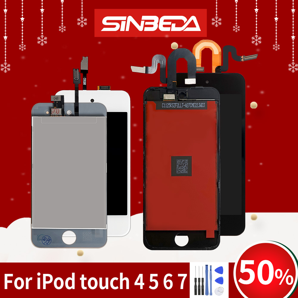 Sinbeda LCD Display For iPod touch 4 5 6 7 Touch Screen Digitizer Assembly Free Tool Adhesive for ipod