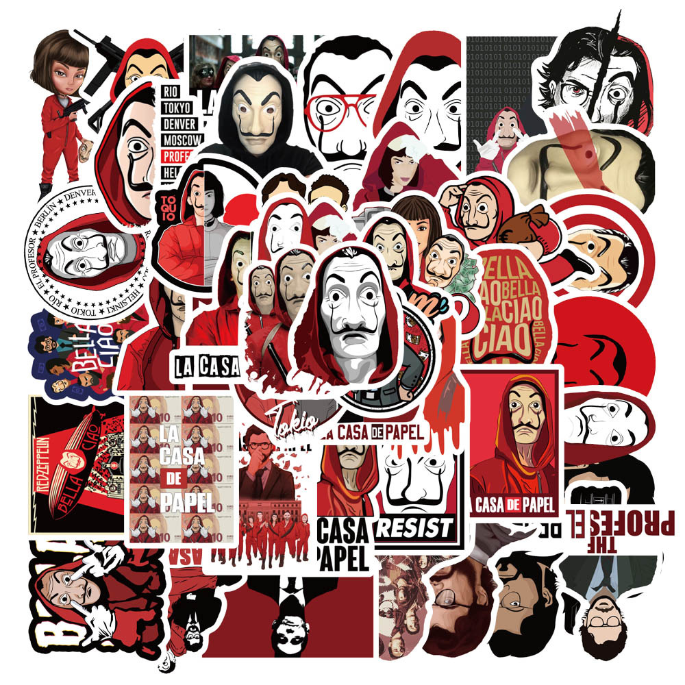 50pcs Spanish Playbooks Money Heist Graffiti Stickers Luggage Laptop Stickers