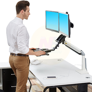 Image 5 - NB FC24 2A Gas Strut 19 24 inch Dual Screen Monitor Mount Bracket Desktop Sit Stand Workstation with Keyboard Tray USB3.0