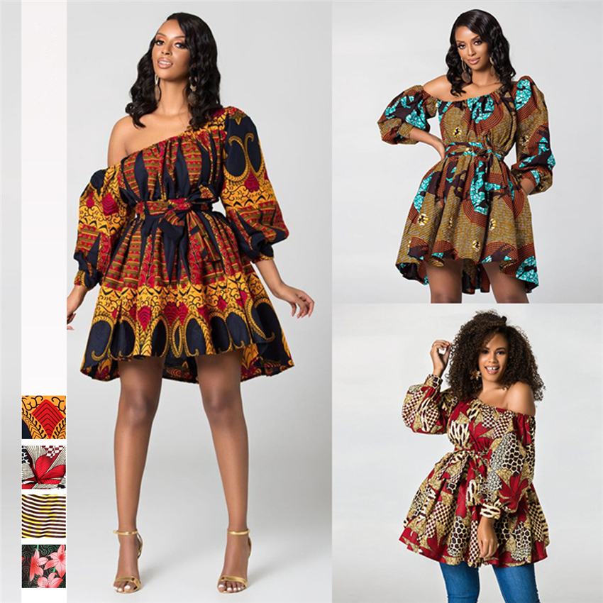 2020 New Fashion African Dresses for Women Summer Tilting Shoulder Two Wear Dashiki Africa Style Print Rich Bazin Dashiki Top