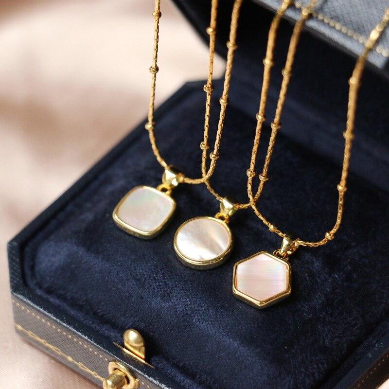 Геометрическая подвеска в виде ракушки YUN RUO, ожерелье цвета розового золота, модная женская бижутерия из титановой стали, подарок, не выцвет...