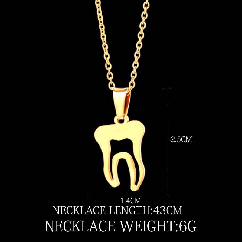 Naszyjnik ze stali nierdzewnej dla kobiet kochanka złoty i srebrny kolor ząb naszyjnik biżuteria zaręczynowa