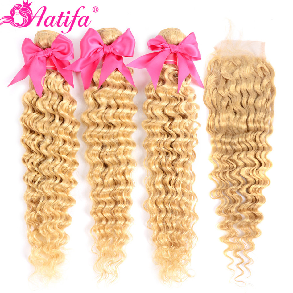 613 Blonde Bundles With Closure Brazilian Deep Wave Bundles With Closure Remy Human Hair 3 Bundles With Closure Aatifa Hair image