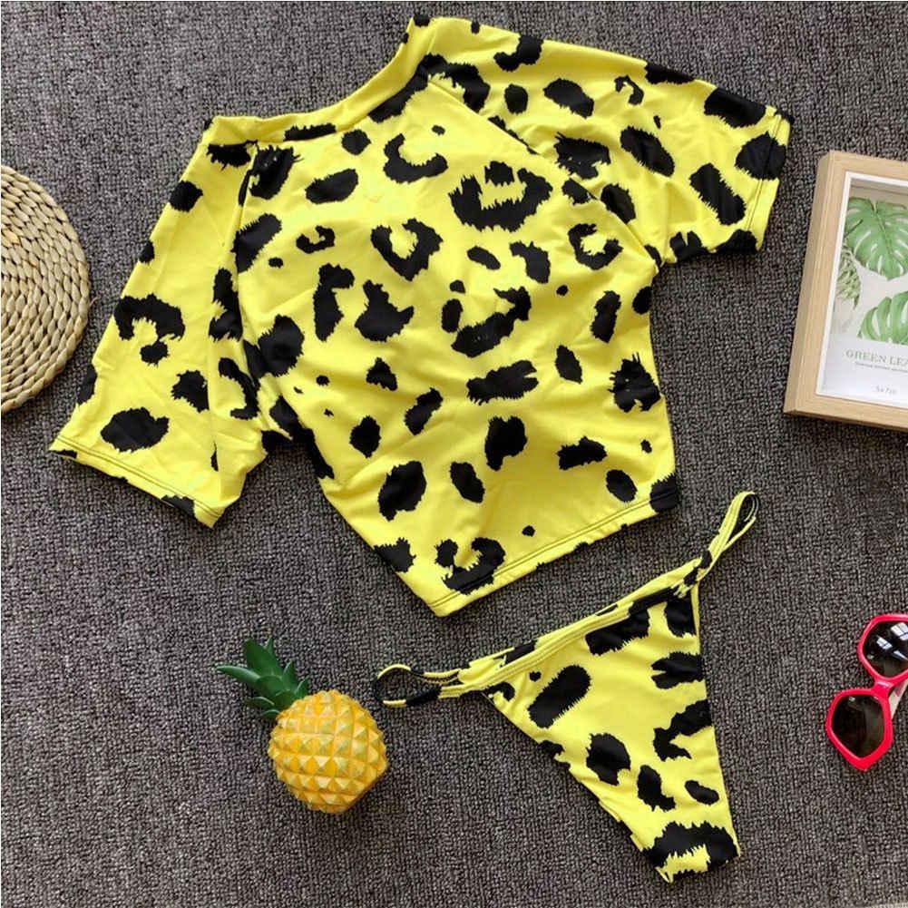 Musim Panas Seksi Leopard Cetak Dua Potong Pakaian Renang Wanita Bikini Baju Renang Dada Simpul Atasan dan Tali Wanita Baju