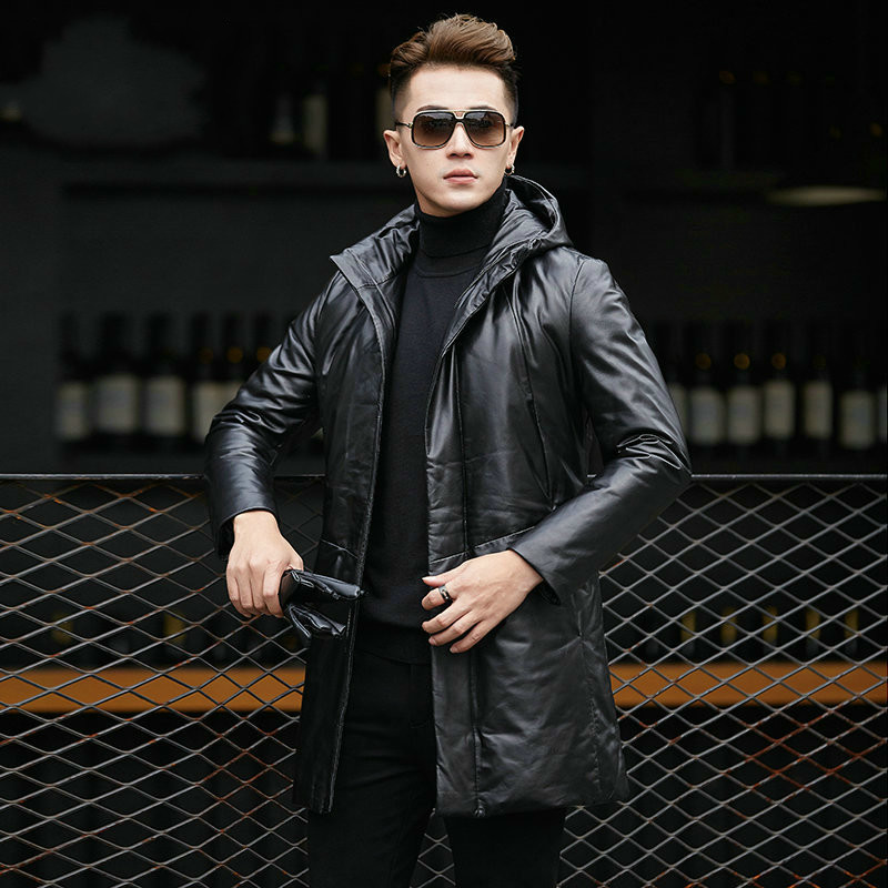 Genuine Leather Jacket Men Sheepskin Coat Down Jacket Hooded Men Leather Jackets Chaqueta Cuero Hombre YY1038B KJ2104