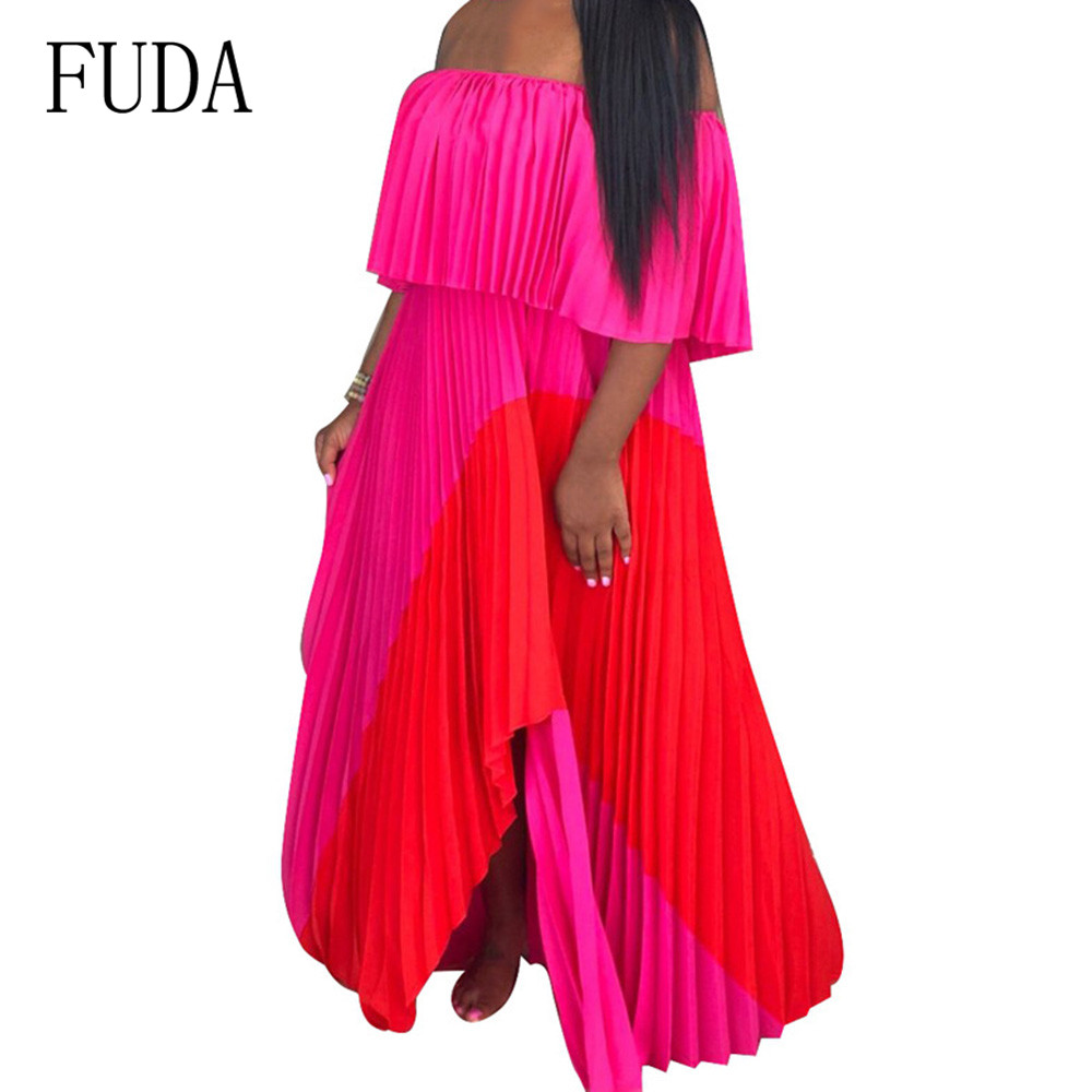 FUDA Strapless Pleated Long Dress Women Vacation Sexy Off Shoulder Boho Chiffon Maxi Dress Summer Bohemian Beach Holiday Dresses in Dresses from Women 39 s Clothing