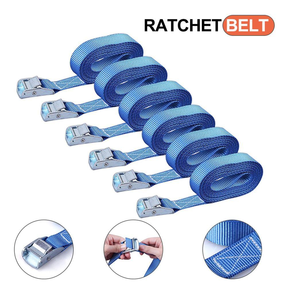 6pcs 3 Metre Buckle Tie-Down Belt Cargo Straps For Car Motorcycle Bike Tow Rope 250LBS Strong Ratchet Belt For Luggage Bag
