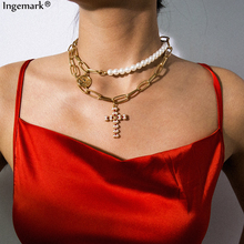 Unique Pearl Choker Necklace Collar Multi Layer Cross Bead Carved Coin Angel Pendant Chain Necklace Christian for Couple Jewelry salircon multi layer carved coin choker necklace