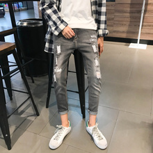 купить Autumn New Jeans Men Stretch Slim Fashion Retro Casual Torn Hole Denim Pants Man Streetwear Hip Hop Skinny Jean Trousers Men дешево