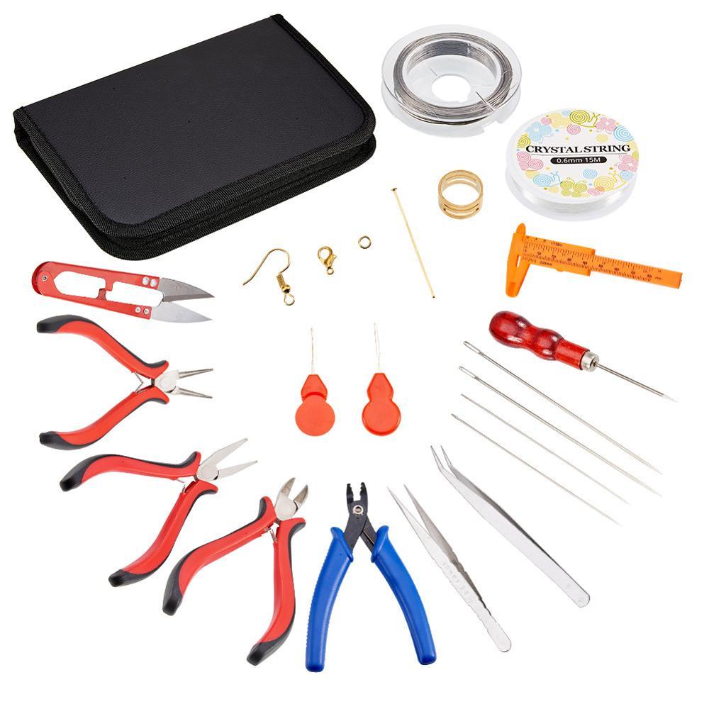 MEIBEADS 20 pièces/ensemble fournisseurs de résultats de bijoux à bricoler soi-même pour la fabrication de bijoux outils Kit équipement avec pinces et ciseaux outils de perles