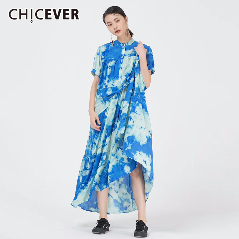 CHICEVER Print Hit Color Dress Women Stand Collar Puff Short Sleeve Free Size Midi Summer Dresses Female Clothes Fashion 2020