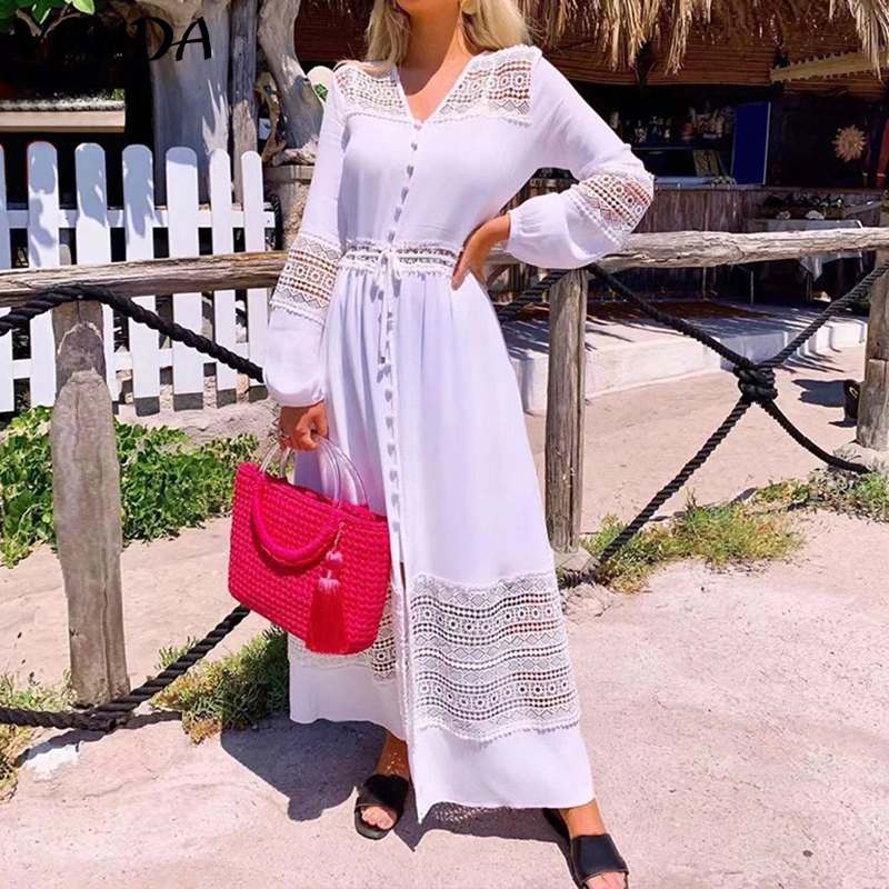 VONDA Maxi Lomg Dress Women Sexy V Neck  Solid Color Bohemian Party Dresses Loose Beach Long Robe Femme Sundress Plus Size