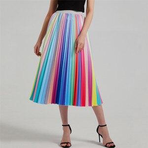 Image 3 - Artystyczny nadruk Peacock plisowana spódnica dla kobiet w stylu Vintage wysokiej talii linii elastyczne spódnice plażowe kobiety ubrania gorąca sprzedaż 2020