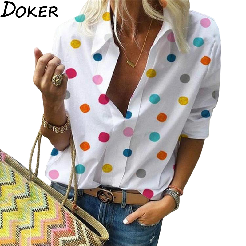 2020 New  Polka Dot  Blouse Women  Turn Down Collar Long Sleeve  Shirts  Plus Size  Clothes  Streetwear White Blouse  Women Xxl