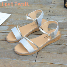 Glitter Kids Girls Dress Shoes New Summer Children Shoes Girls Princess Shoes Casual Girl Sandals Women Wedding Shoes Size35-40 cheap Loveewalk Rubber Patent Leather Flat Heels Hook Loop Fits true to size take your normal size 14T Appliques Ankle-Wrap