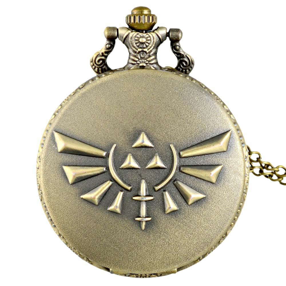 Vintage Bronze The Legend Of Zelda Quartz Pocket Watch Retro Men Women Zelda Pendant Necklace  Jewelry Gifts