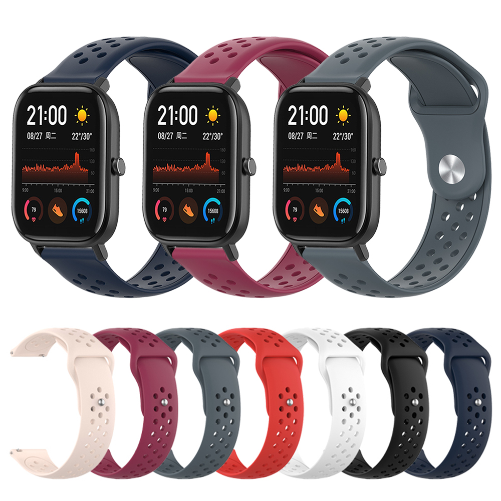 Silicone Band For Amazfit GTS / Bip Wrist Strap For Huami Amazfit GTR 47mm 42mm / Amazfit 3 Watch Replaceable Bracelet Watchband