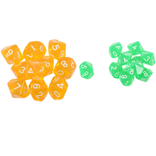 20 Pcs Dices D10 Ten Sided Gem Dice Die for RPG Dungeons&Dragons Board Table Games, 10 Transparent Yellow & Transpare