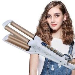 Fer à friser électrique en céramique LED numérique 3 baril vague bouclée fer bigoudis femmes sertissage fer beauté outil de coiffure