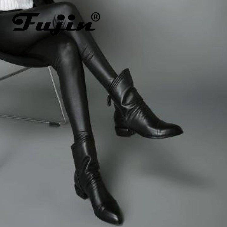Fujin Shoes Autumn Boots Women Winter Short-Tube Round-Toe Zipper Solid