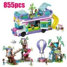 Novos amigos série blocos amizade ônibus compatível lepining 41395 amigos blocos de construção tijolos presente natal brinquedos menina