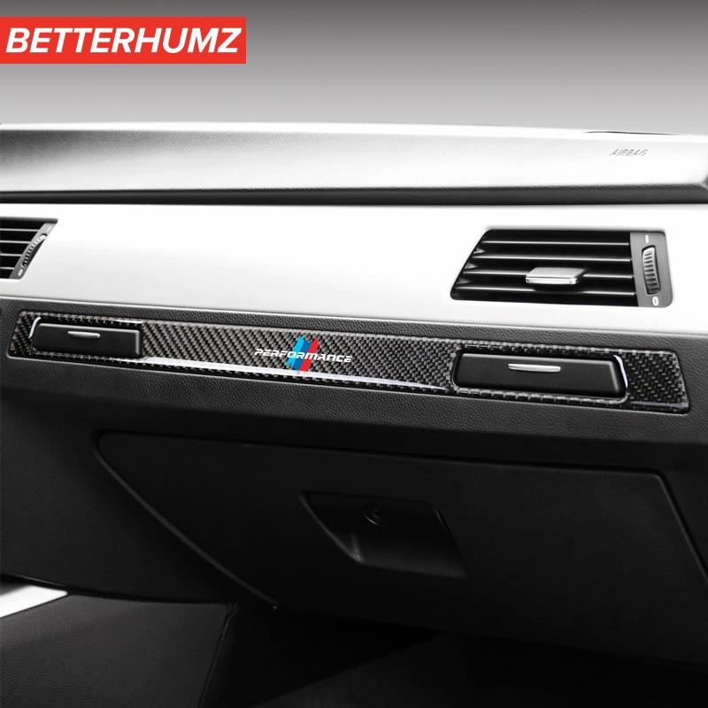 Автомобильный Стайлинг интерьер углеродное волокно M эффективная наклейка Copilot держатель стакана для воды панель полоса отделка для BMW e90 e92 ...