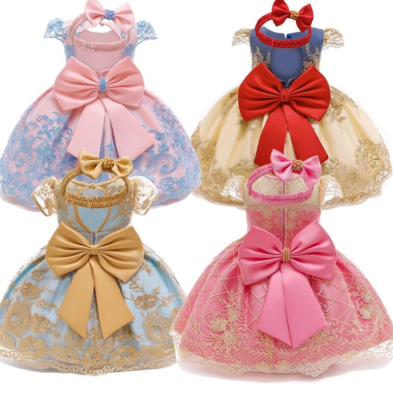 Vestido da menina do bebê para meninas vestido de festa laço arco infantil vestido de batismo tutu 1 ano vestido de aniversário livre bandana 6 9 12 24 meses