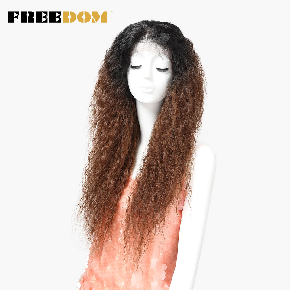 FREEDOM Synthetic Lace Front Wig With Baby Hair Ombre  Brown Afro Kinky Curly Wigs For Black Women 30inch Free Shipping