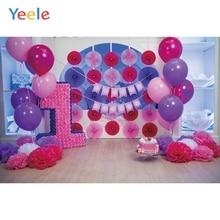 Yeele 1st Birthday Party Photozone Balloons Flowers Photography Backdrops Personalized Photographic Backgrounds For Photo Studio