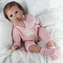 55 cm Silicone Reborn Baby Doll with blue eyes girls Toys For children Alive Real baby doll and pink baby clothes Christmas gift lovely silicone baby dolls with santa claus clothes children christmas gifts brown eyes lifelike alive reborn simulation doll