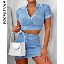 BOOFEENAA Sexy Baby Blue Knit Sweater Two Piece Set Women Kawaii Fashion Summer