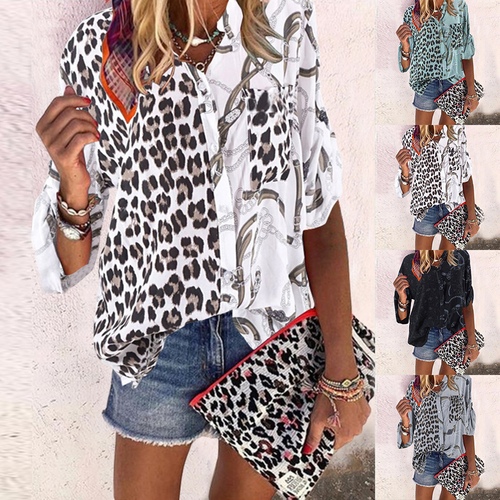 SHUJIN Leopard Chains Patchwork Print Blouses And Shirt Woman Sexy Office Casual Button Long Sleeve Blusas Shirts Lady Tops