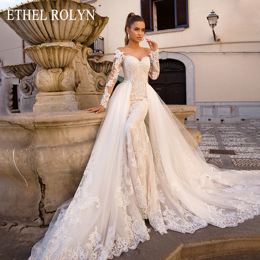 Detachable Mermaid Wedding Dresses Long SLeeve Vestido De Novia 2020 ETHEL ROLYN Sexy Sweetheart Bride Champagne Wedding GownsWedding Dresses   -