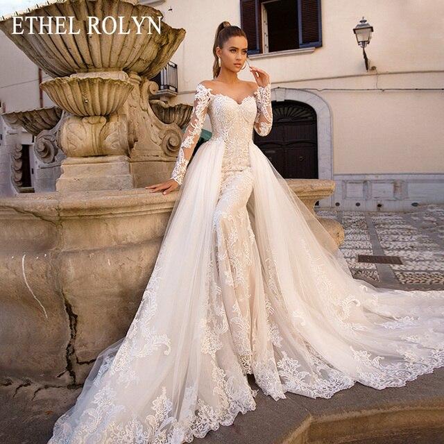 取り外し可能なマーメイドウェディングドレス長袖 vestido デ · ノビア 2020 エセル rolyn セクシーな恋人の花嫁シャンパンのウェディングドレス