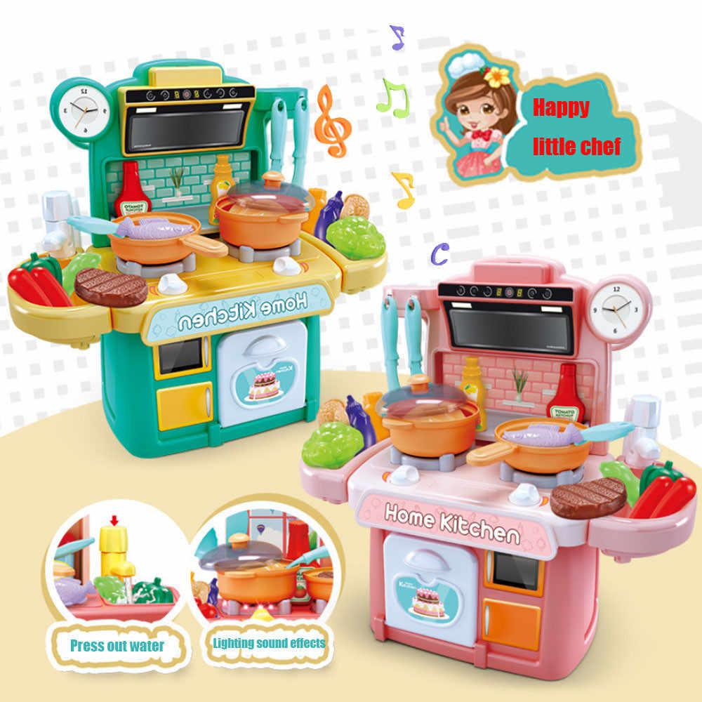 ของเล่นสำหรับชายหญิง ABS Speelgoed Keuken ชุดก่อนวัยเรียนเด็กการศึกษาเครื่องครัวกล่องช้อนส้อมเครื่องครัววันหยุดของขวัญ