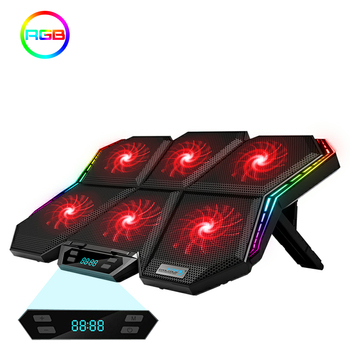 Coolcold Laptop cooling pad 12-17 inches Gaing RGB Led Screen Notebook cooler stand with Six Fan stand and 2 USB Ports 1