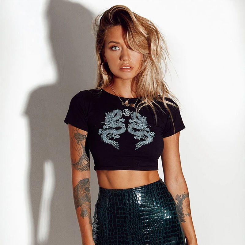 Casual Dragon Print Short Sleeve <font><b>Women</b></font> T <font><b>Shirt</b></font> Crop Top Bodycon <font><b>Sexy</b></font> 2020 Summer Clotehs Streetwear Party <font><b>Gothic</b></font> Club Cotton image