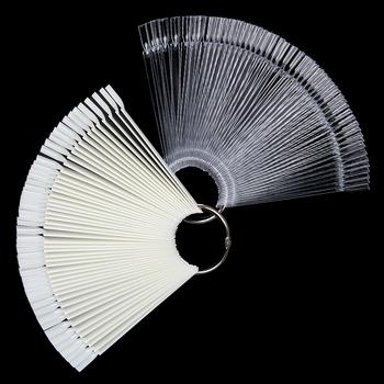 Karta kolorów sztuczne tipsy Fan przezroczysty biały fałszywe tipsy Nail Art Practice Display Design Tools tanie i dobre opinie PICT YOU Palec Approx 12 6cm 50Pcs PYG39415 Approx 1 05cm Z tworzywa sztucznego Fałsz paznokci Pełna tipsy
