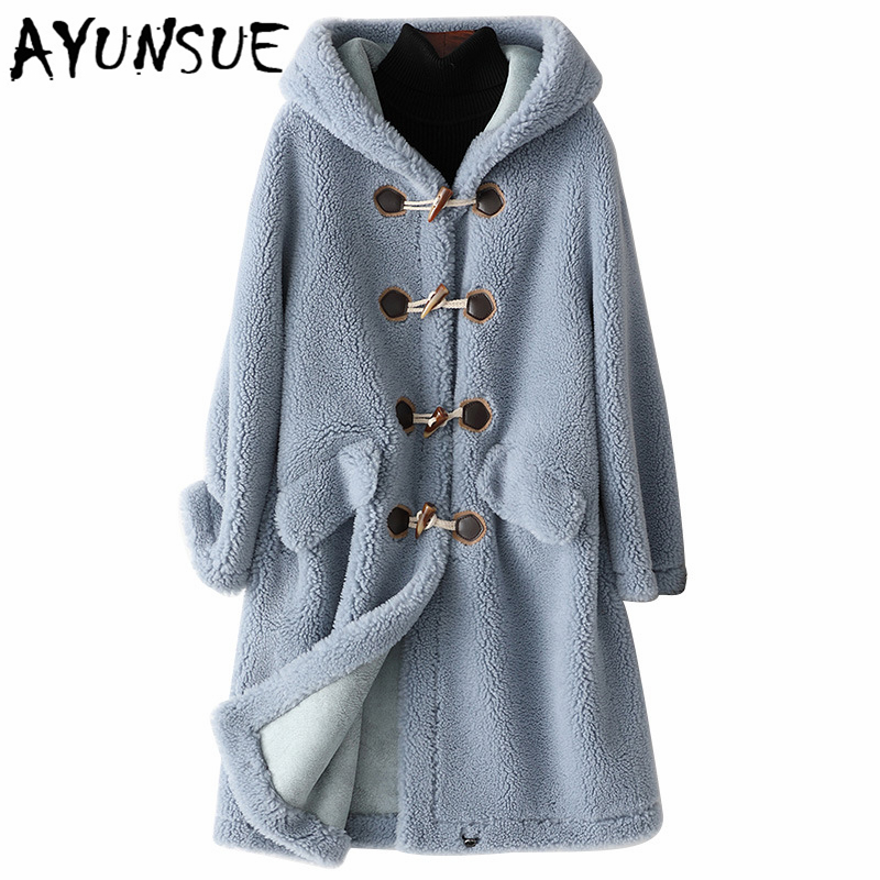 AYUNSUE 2019 New Wool Real Fur Coat For Women Clothes Winter Sheep Jackets Coats Female Long Hooded Suede Lining Overcoat 978001