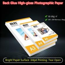 80 г, 120 г, 135 г, 150 г, 180gA4, A3, 100 листов, самоклеющаяся Магнитная печатная бумага для струйной печати с наклейкой на заднюю панель, Премиум Глянцевая фотобумага