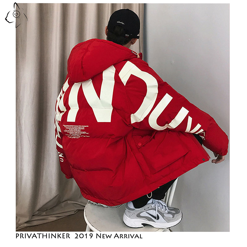 Privathinker 2019 Thick Warm Men Winter Jacket Clothes Casual Loose Harajuku Mens Parkas Coats Hooded Print Red Male Windbreaker-in Parkas from Men's Clothing
