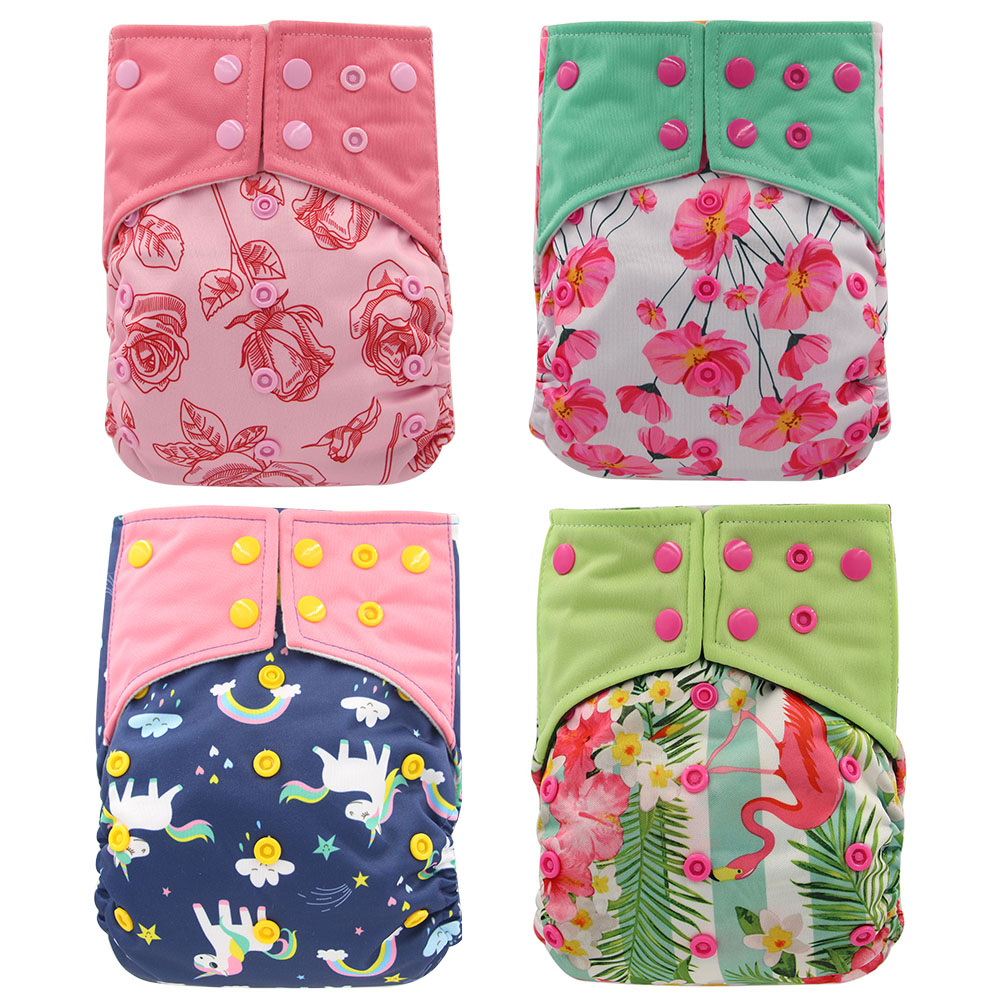 Ohbabyka 2020 New 4pcs/set Washable Eco-Friendly AI2 Cloth Diaper Adjustable Nappy Reusable Cloth Diapers Fit 0-2years 3-15kg