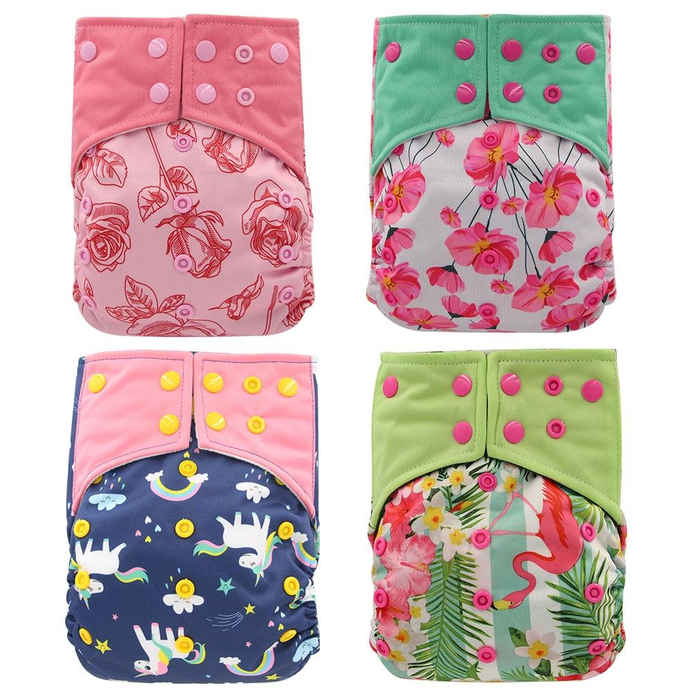 Ohbabyka 2020 Новый 4 шт./компл. моющийся экологичный подгузник из ткани AI2, Регулируемые Многоразовые подгузники из ткани для детей 0-2 лет 3-15 кг