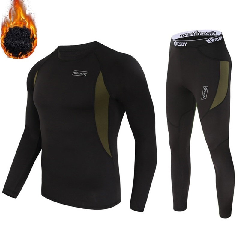 Thermal Underwear Winter Men Long Johns Thin Fleece Compression Sports Tight Shapewear Clothes Size S To 3XL