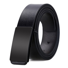 SLIM THIN BELT AUTOMATIC BUCKLE METAL FASHION MEN REAL LEATHER MALE COWSKIN BUSINESS CASUAL GIFT FOR HUSBAND